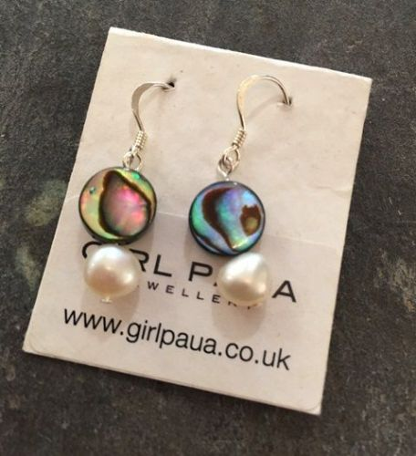 Paua & Freshwater Pearl Earrings PE02-PC